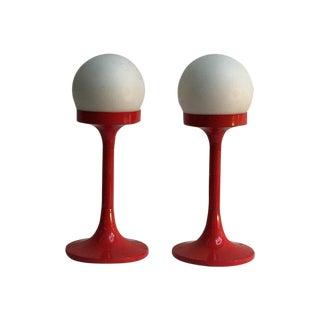 Mid-Century Orange Retro Table Lamps - A Pair