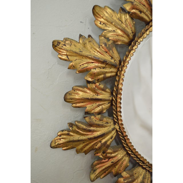Hollywood Regency Mid century Gold Gilt Metal Starburst Wall Mirror - Image 9 of 11