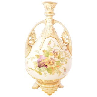 1888 Royal Worcester Porcelain Stem Vase For Sale