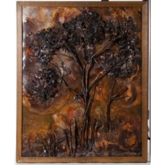 Abstract Framed Cut Copper Tree by J. Somper circa 1975 For Sale - Image 3 of 3