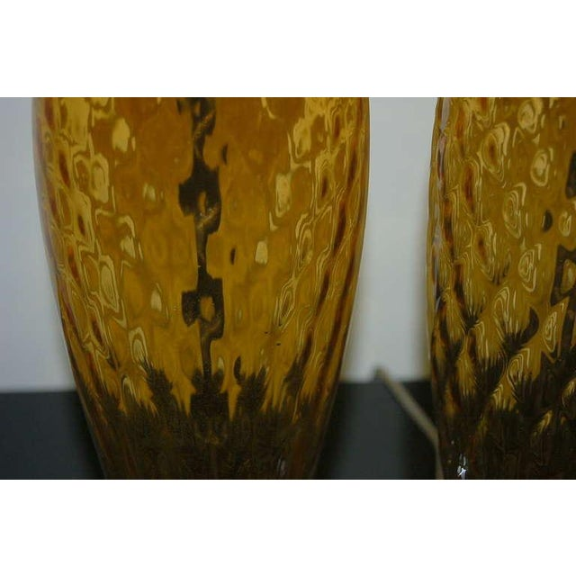 1960s Vintage Italian Glass Table Lamps Butterscotch For Sale - Image 5 of 9