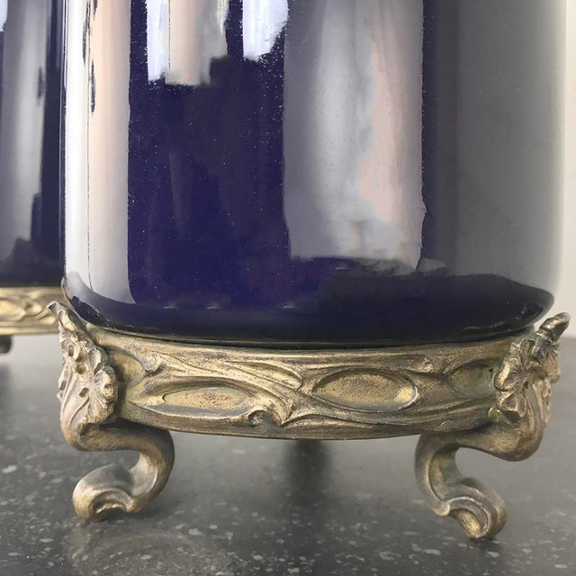 Pair 19th Century Cobalt Porcelain & Bronze Vases For Sale - Image 9 of 12