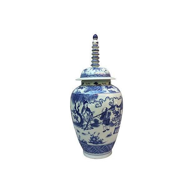 Blue & White Spiral Lid Ginger Jar - Image 1 of 7