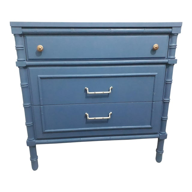 1970s Hollywood Regency Faux Bamboo Painted Chest For Sale