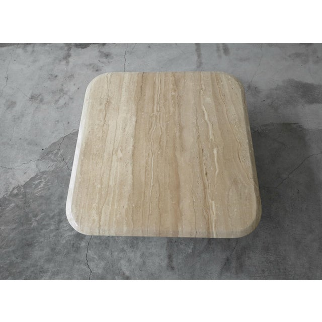 1980s Square Polished Italian Travertine Coffee Table For Sale - Image 5 of 7