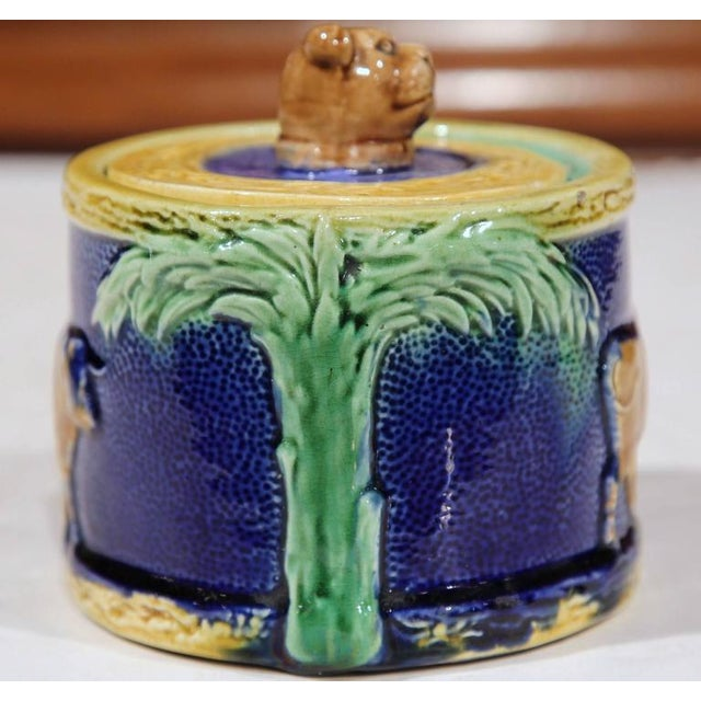 19th Century French Hand-Painted Barbotine Sugar Bowl With Lid and Cows For Sale In Dallas - Image 6 of 9