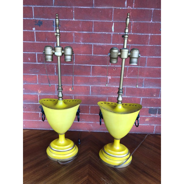 Warren Kessler Painted Metal Urn Lamps - a Pair For Sale - Image 11 of 12
