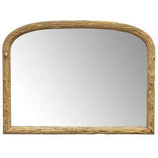 19th Century Antique French Gilt Faux Bois Mirror For Sale