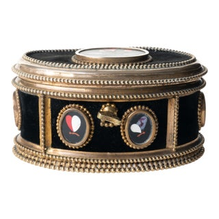 Antique Italian Oval Jewelry Cask in Cast Bronze and Pietra Dura With Hinged Lid For Sale