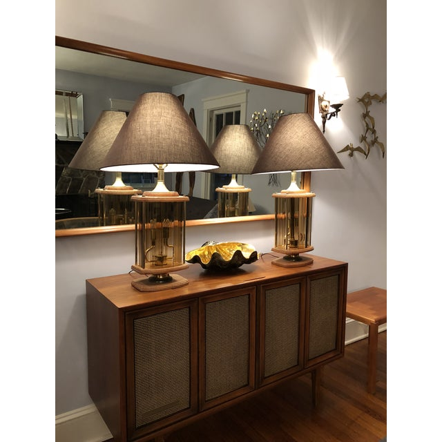 1970s Mid Century Modern Smoked Beveled Pane Wood Lamps - a Pair For Sale - Image 4 of 6