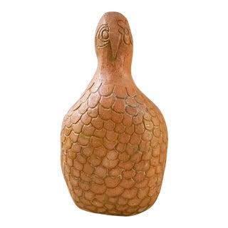 Vintage Signed Handmade Terra Cotta Bird Vase For Sale