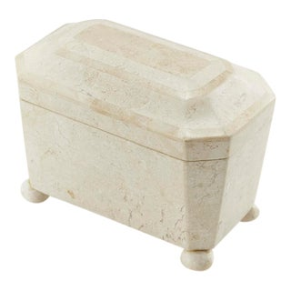 1990s Vintage Two-Tone Medium Tessellated Stone Box For Sale