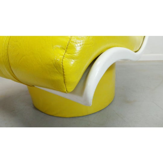 Yellow 1970s Vintage Decorian Modern Yellow Vinyl Wave Scoop Chair For Sale - Image 8 of 9