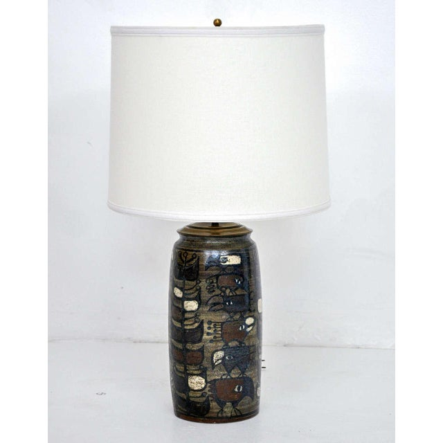 Rare Mid-Century pottery lamp by Georg Jensen.