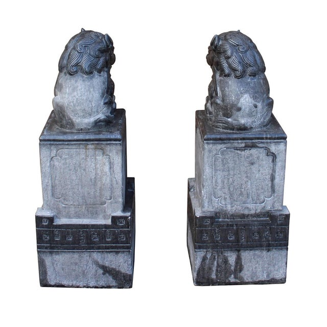 Chinese Gray Stone Fengshui Pedestal Foo Dog Statues - A Pair For Sale - Image 5 of 6