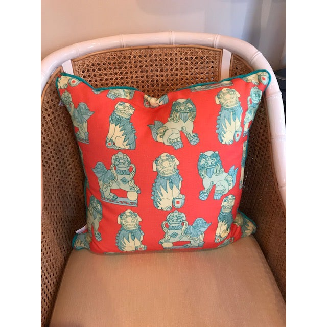 Traditional Cotton and Quill Pillow - Shi Shi Pattern For Sale - Image 3 of 3