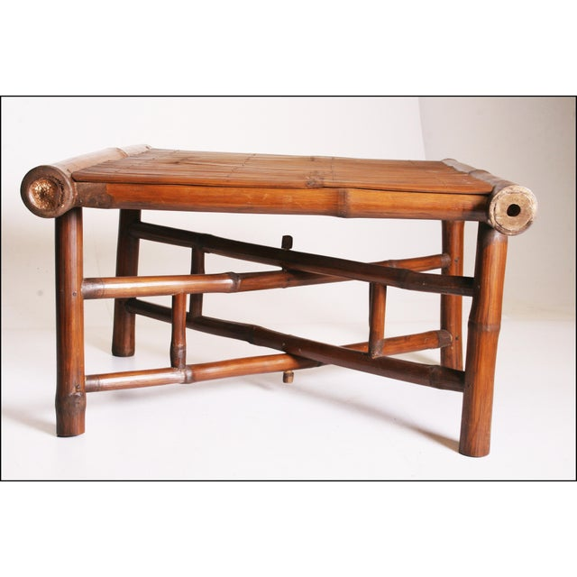 Vintage Brown Bamboo Coffee Table - Image 8 of 11