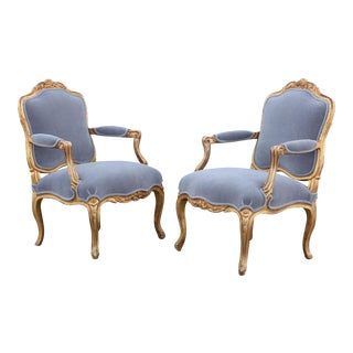Mid 19th Century Gilt Wood French Louis XV-Style Armchairs - A Pair