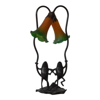 Victorian Style Sculptural Frog Lamp For Sale