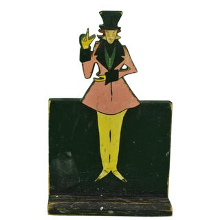 1930s Vintage Hand-Painted 'Dapper Dandy' Plaque For Sale