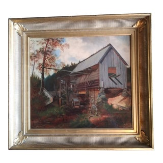 """Late 19th Century """"The Old Mill"""" Oil Painting by Frank Henry Shapleigh, Framed For Sale"""