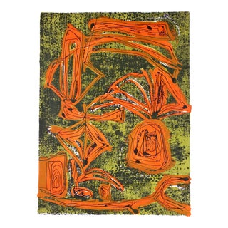 Mid-Century Tropical Abstract Lithograph, Circa 1950s