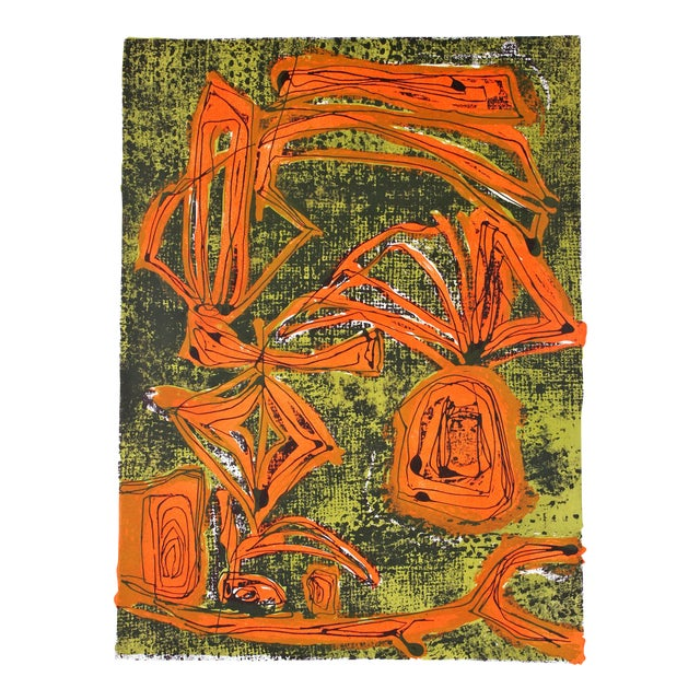 Mid-Century Tropical Abstract Lithograph, Circa 1950s For Sale