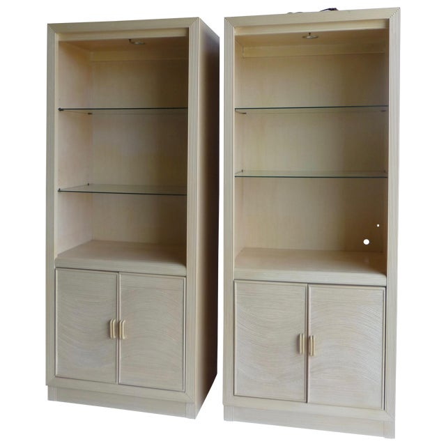 Modern Split Reed Lighted Cabinets - A Pair - Image 1 of 11