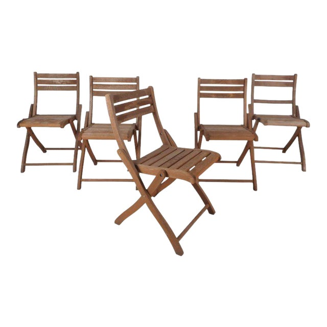 Vintage Modern Wood Folding Chairs - Set of 5 For Sale