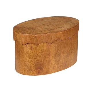 Oval Teak Wood Covered Storage Box For Sale