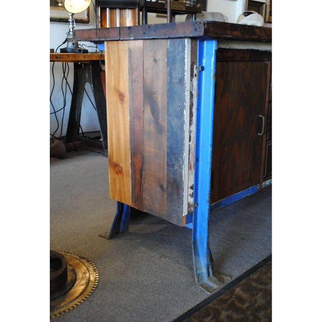 Vintage Wood Workbench Table or Console - Image 8 of 9