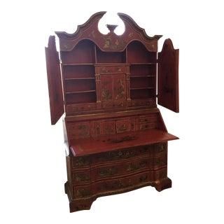 1900s Chinoiserie Red Display Storage Cabinet/Secretary Desk For Sale