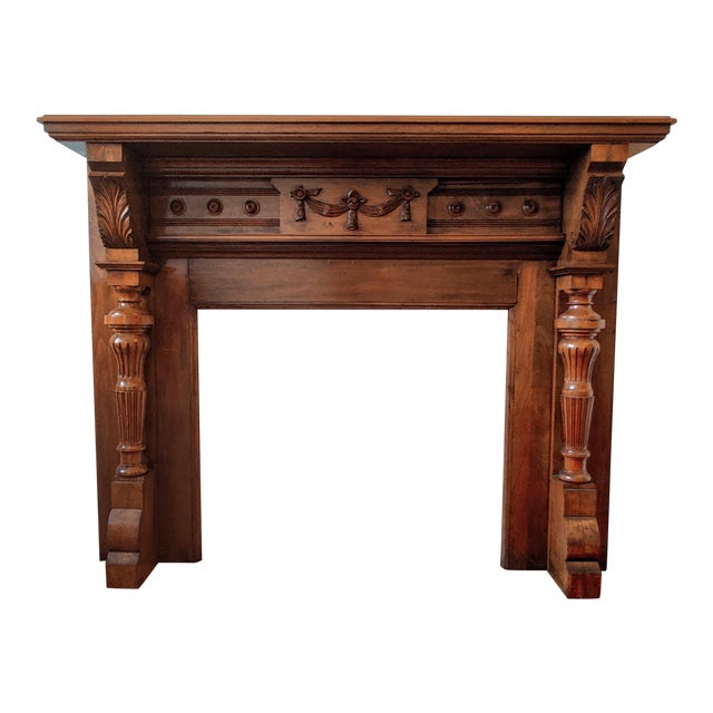 Victorian Walnut Classical Revival Fireplace Mantel For Sale