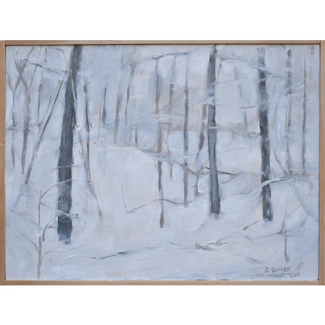 "Paint Modern ""Snow Squall"" Contemporary Painting by Stephen Remick For Sale - Image 7 of 7"