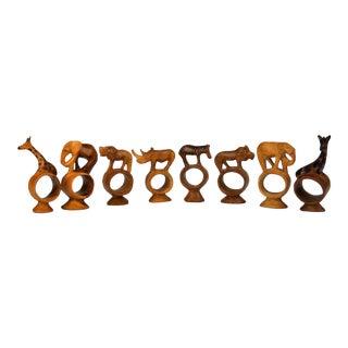 Safari Animal Wood Napkin Rings, S/8 For Sale