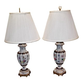 Vintage Frederick Cooper Hand-Painted Lamps - a Pair For Sale