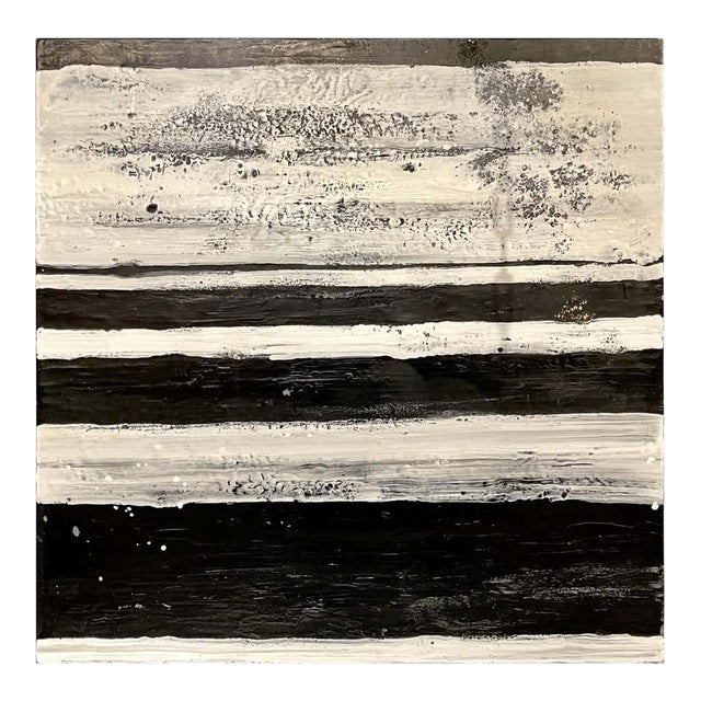 """Lynn Basa Encaustic Black and White Stripe Panel """"The Speckled Band"""" 2013 For Sale"""