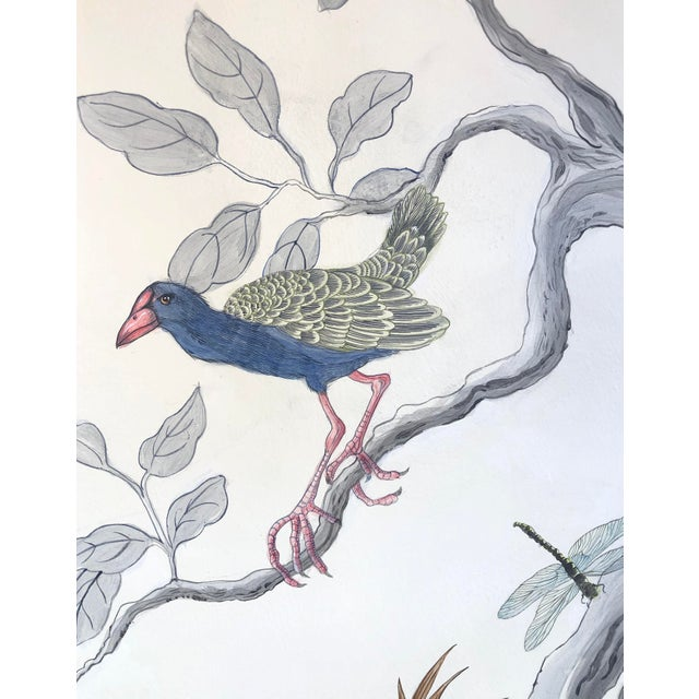 """Chinoiserie Chinoiserie Style Bird Painting, """"I've Never Been More Shore"""" For Sale - Image 3 of 9"""