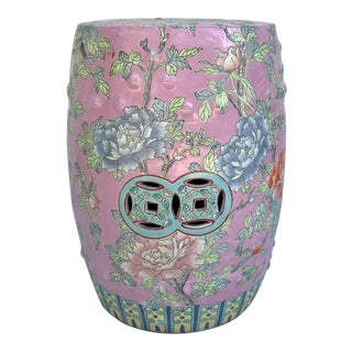Antique Asian Chinoiserie Ceramic Garden Stool For Sale