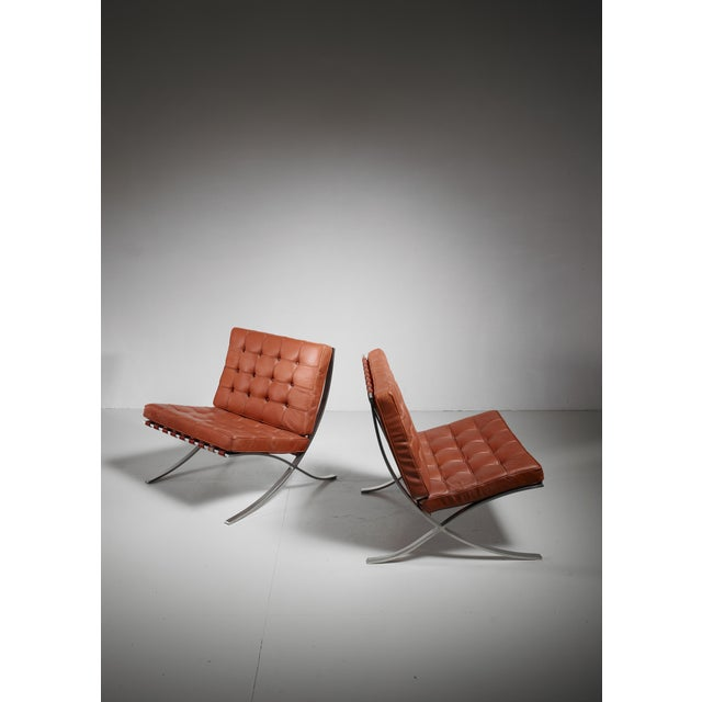 Brown Pair original Barcelona chairs, 1st Knoll edition, 1950s For Sale - Image 8 of 8