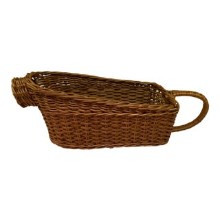 Mid 20th Century Vintage Wicker Wine Basket For Sale