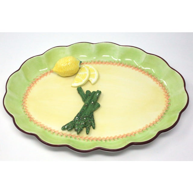 Vintage Hand-Painted Trompe l'Oeil Lemon and Asparagus Decorative Plate For Sale - Image 11 of 11