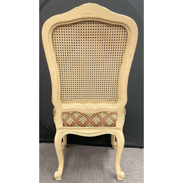 Set of 14 Louis XV Style Pickled Distress Dining Chairs For Sale - Image 4 of 13