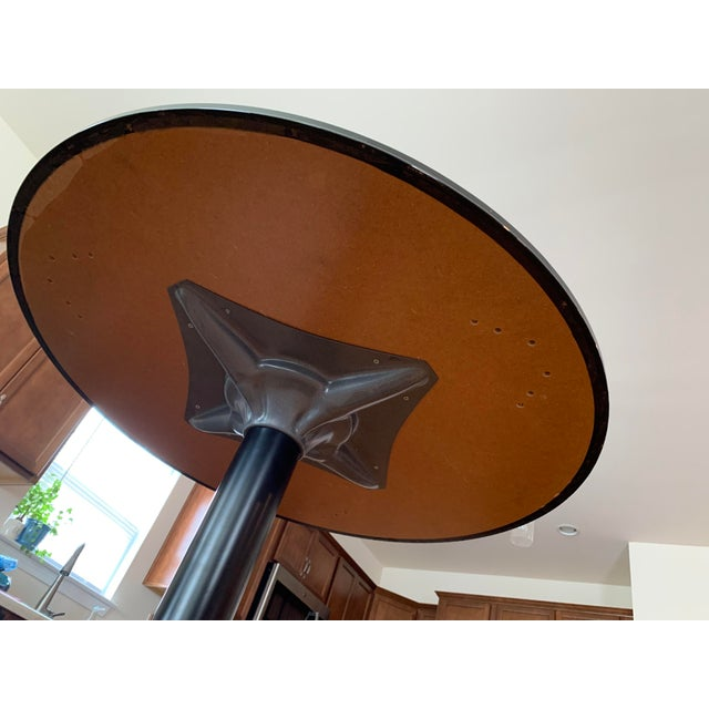 Black Vintage Mid Century Modern Painted Metal Pedestal Cafe Table For Sale - Image 8 of 9