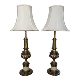 1950s Stiffel Brass and Enamel Lamps - a Pair For Sale