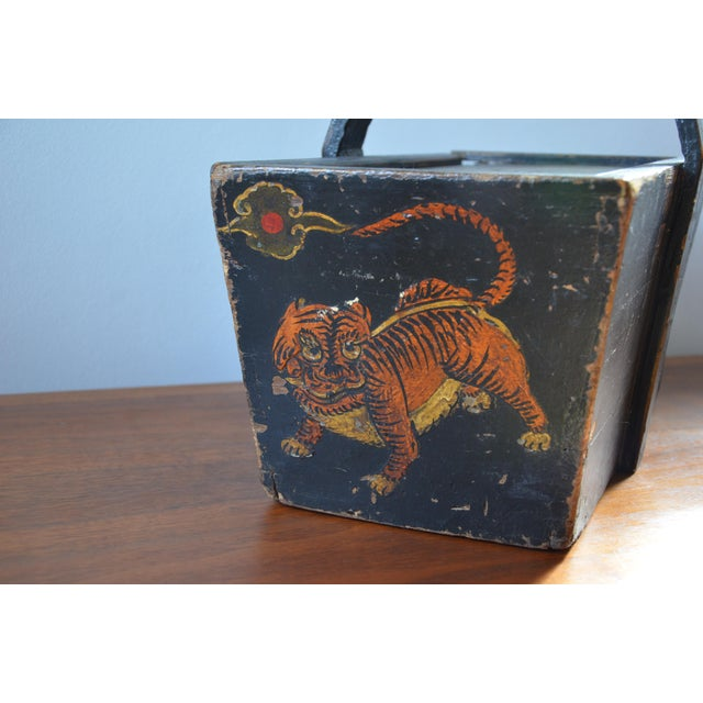Antique Hand Painted Chinese Wooden Rice Box With Tiger & Dragon For Sale - Image 9 of 13