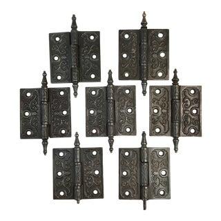 Antique Victorian Eastlake Steeple Tip Door Hinges - Set of 7 For Sale