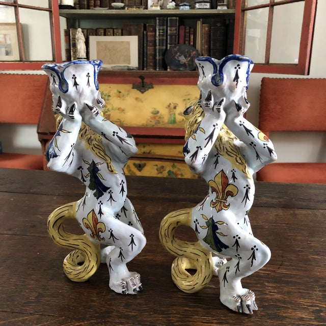 Mid 19th Century Mid 19th Century French Victorian Quimper Faience Ceramic Heraldic Lion Candlesticks - a Pair For Sale - Image 5 of 13