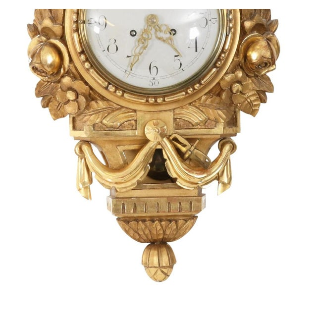Antique Gustavian Swedish Gold Birch Wall Clock For Sale - Image 4 of 6