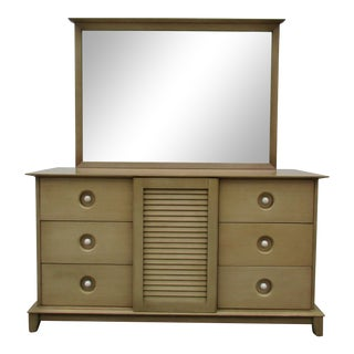 Link Taylor Mid-Century Modern Mahogany Nine Drawer Dresser With Mirror For Sale